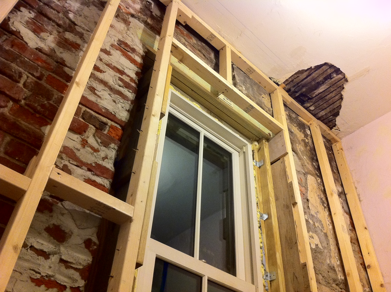 Framed up madison square home for Drywall around windows